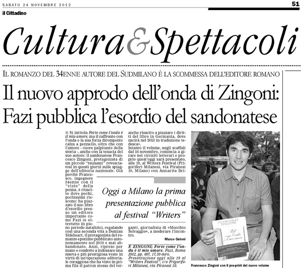 Recensione Forte come l'onda è il mio amore di Zingoni Francesco su Il Cittadino 24-11-2012