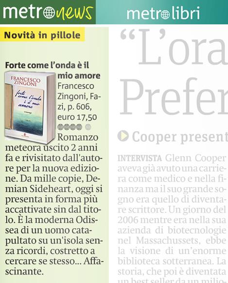 Recensione Forte come l'onda è il mio amore di Zingoni Francesco su Metro 6-12-2012
